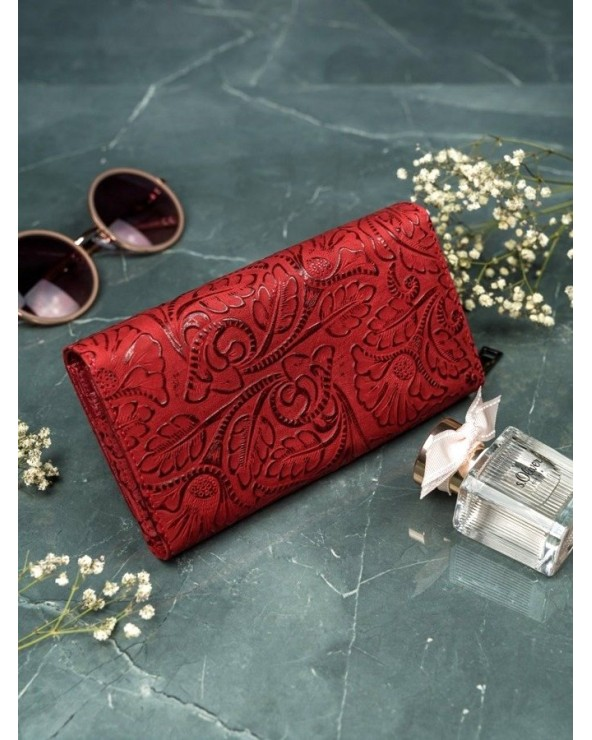 Damski portfel skórzany Lorenti liście czerwony tył