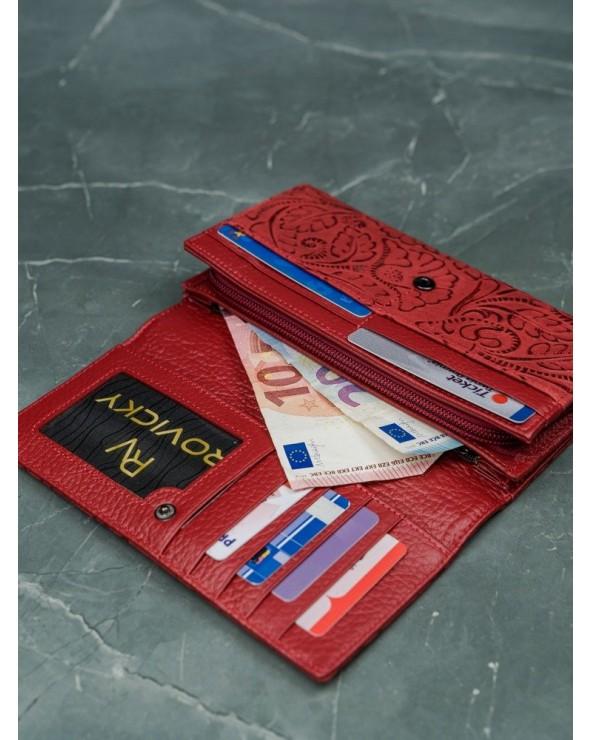 Damski portfel skórzany Lorenti liście czerwony wnętrze
