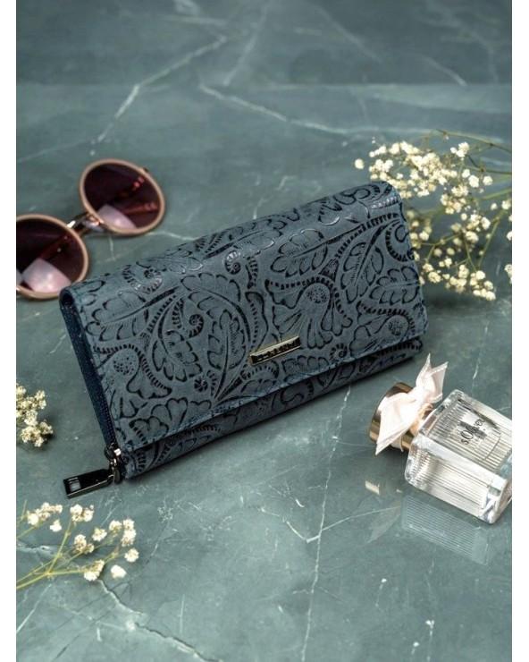 Damski portfel skórzany Lorenti liście szary niebiski gołebi stylowy