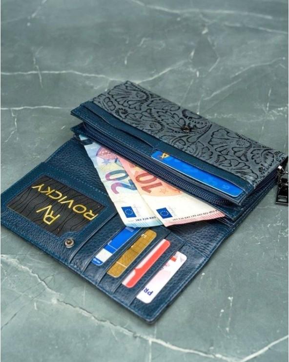 Damski portfel skórzany Lorenti liście szary wnetrze