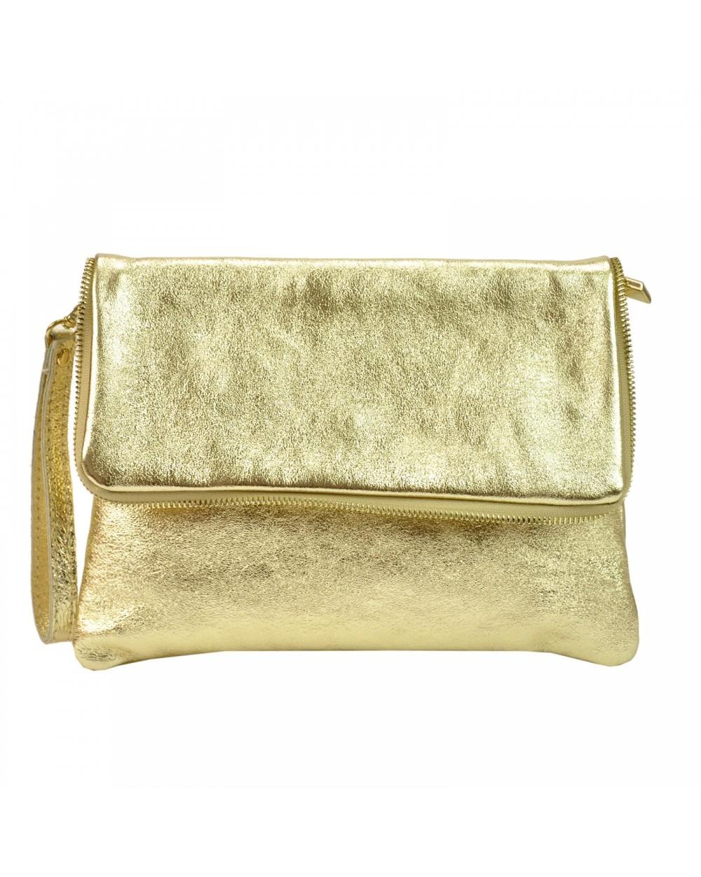 Złota kopertówka skórzana metaliczna włoska