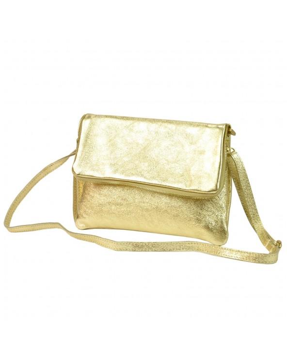 Złota kopertówka skórzana metaliczna z paskiem