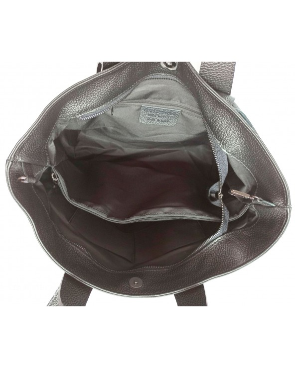 Duża skórzana torebka pleciona a'la Bottega Veneta czarna wnętrze
