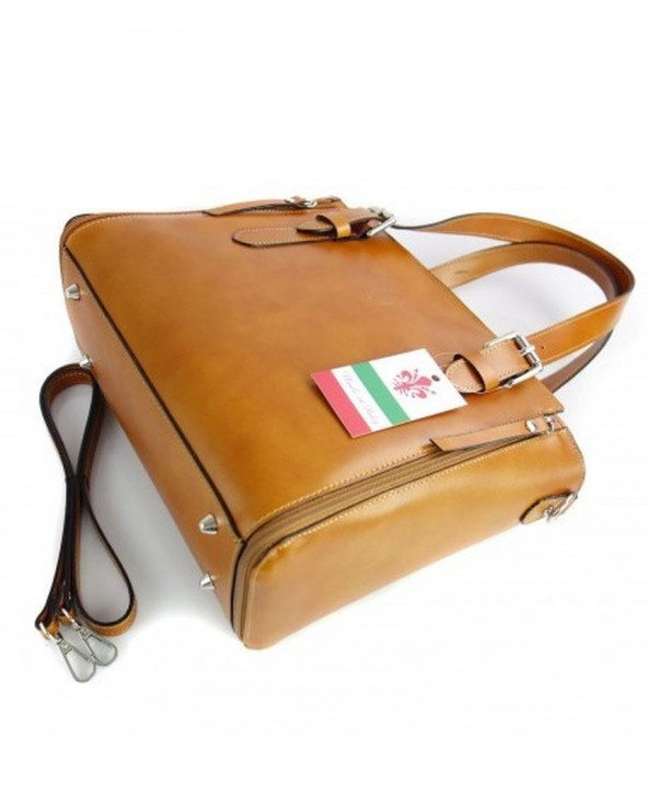Włoska torba skórzana shopperka kuferek camel spód metalowe nóżki