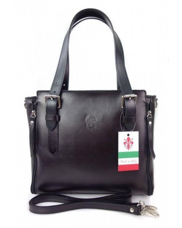 Włoska torba skórzana shopperka kuferek czarna