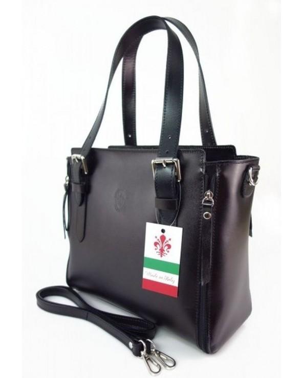 Włoska torba skórzana shopperka kuferek czarna bok