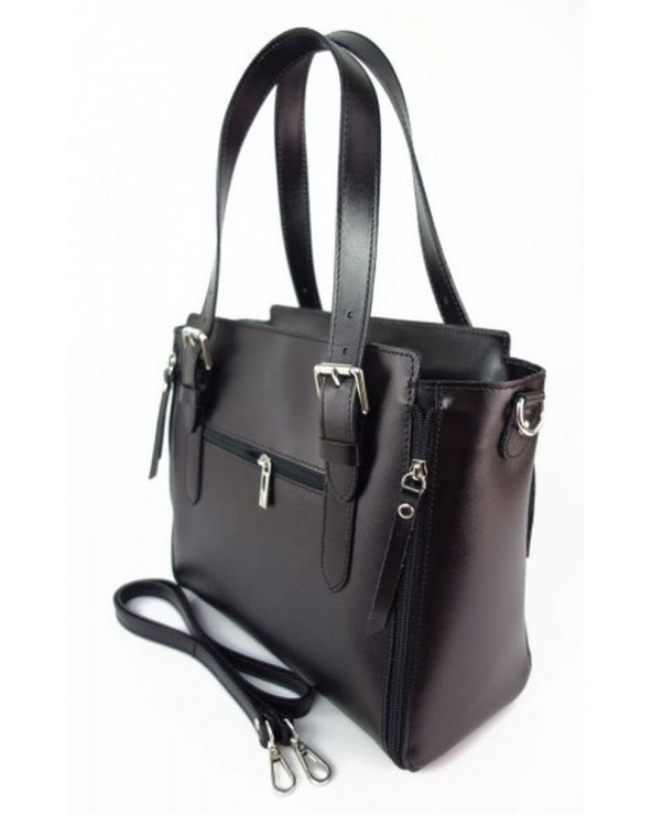 Włoska torba skórzana shopperka kuferek czarna tył