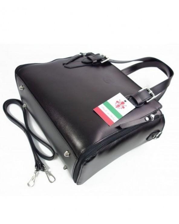 Włoska torba skórzana shopperka kuferek czarna spód