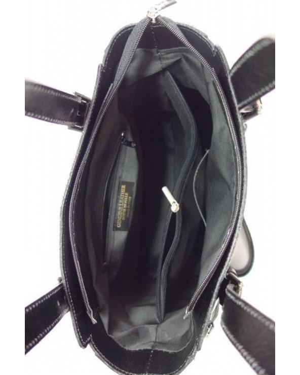 Włoska torba skórzana shopperka kuferek wnętrze