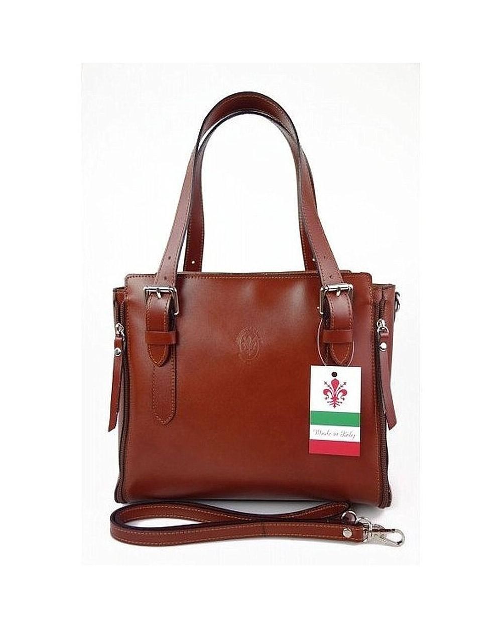 Włoska torba skórzana shopperka kuferek brązowa