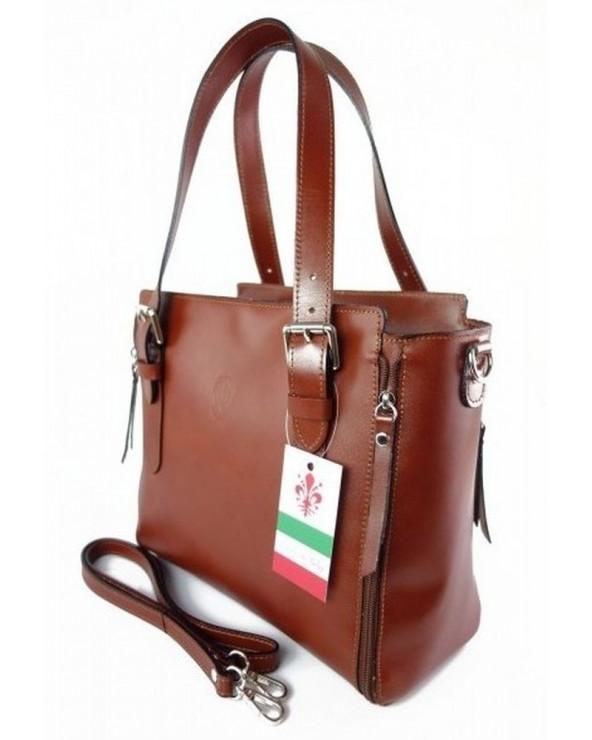 Włoska torba skórzana shopperka kuferek brązowa bok