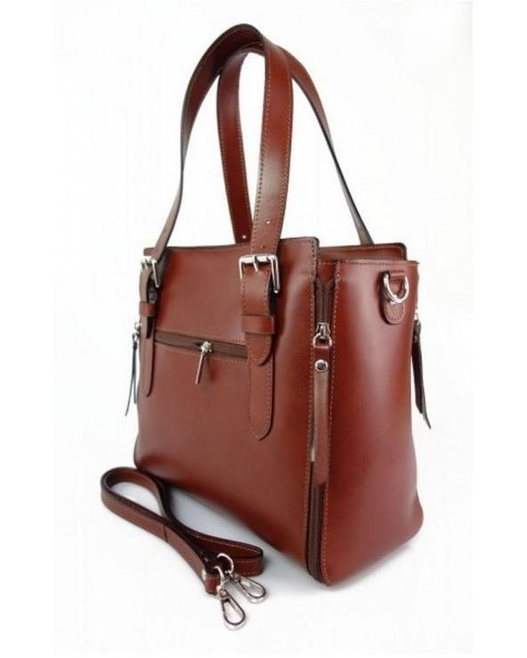 Włoska torba skórzana shopperka kuferek brązowa tył