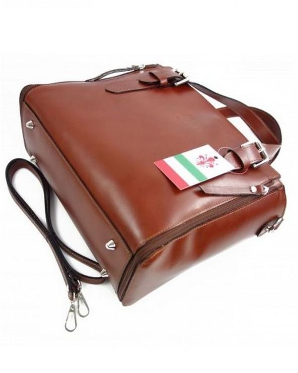 Włoska torba skórzana shopperka kuferek brązowa spód