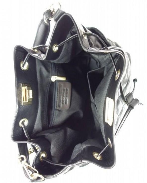 Skórzany worek pikowany włoski vera pelle czarny wnętrze