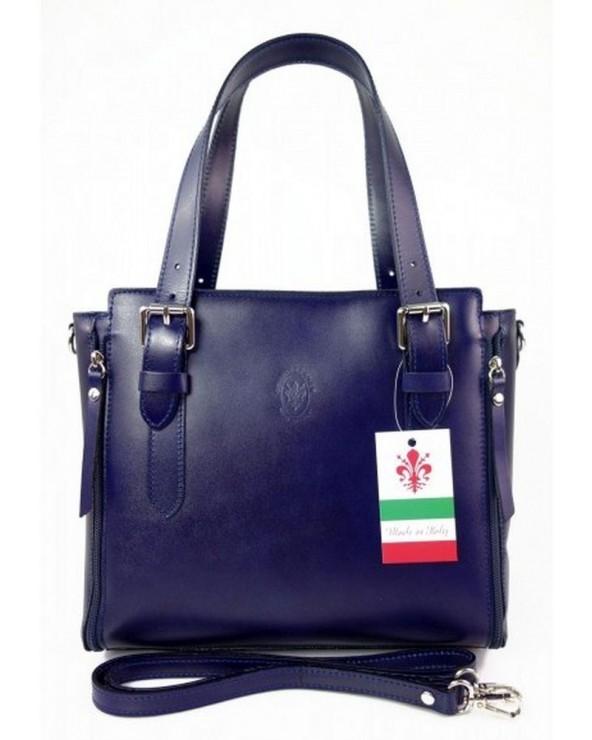 Włoska torba skórzana shopperka kuferek granatowa