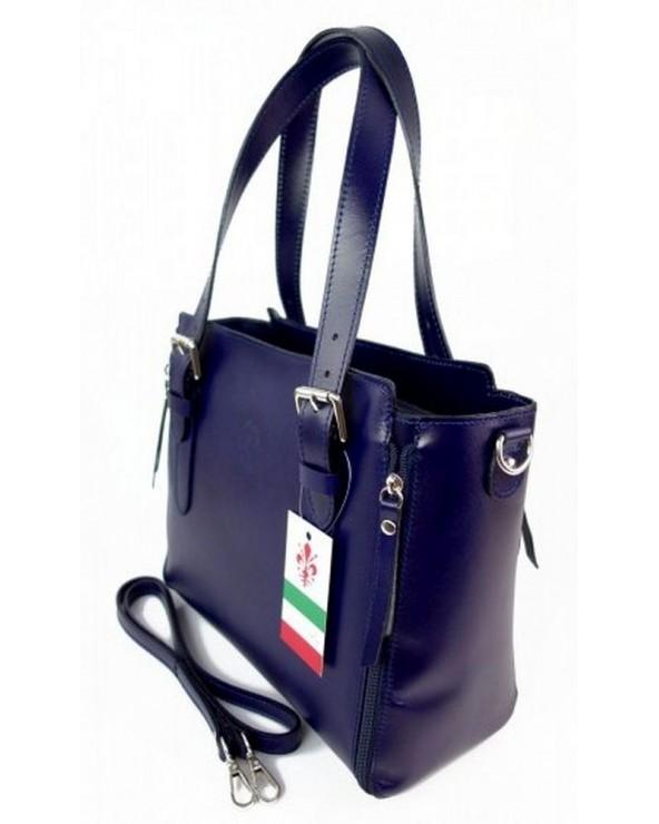 Włoska torba skórzana shopperka kuferek granatowa bok