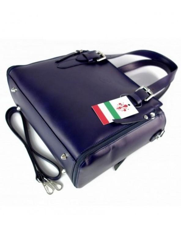 Włoska torba skórzana shopperka kuferek granatowa spód