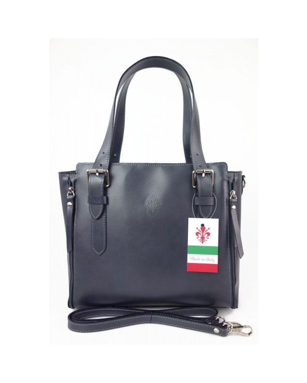 Włoska torba skórzana shopperka kuferek szara