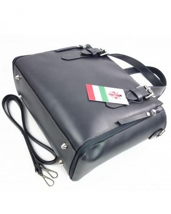 Włoska torba skórzana shopperka kuferek szara metalowe nóżki