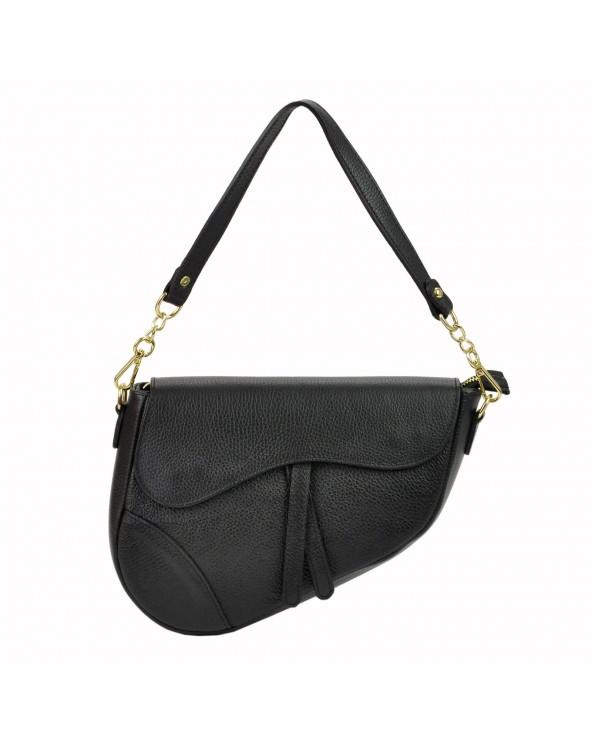 Skórzana torebka saddle bag czarna