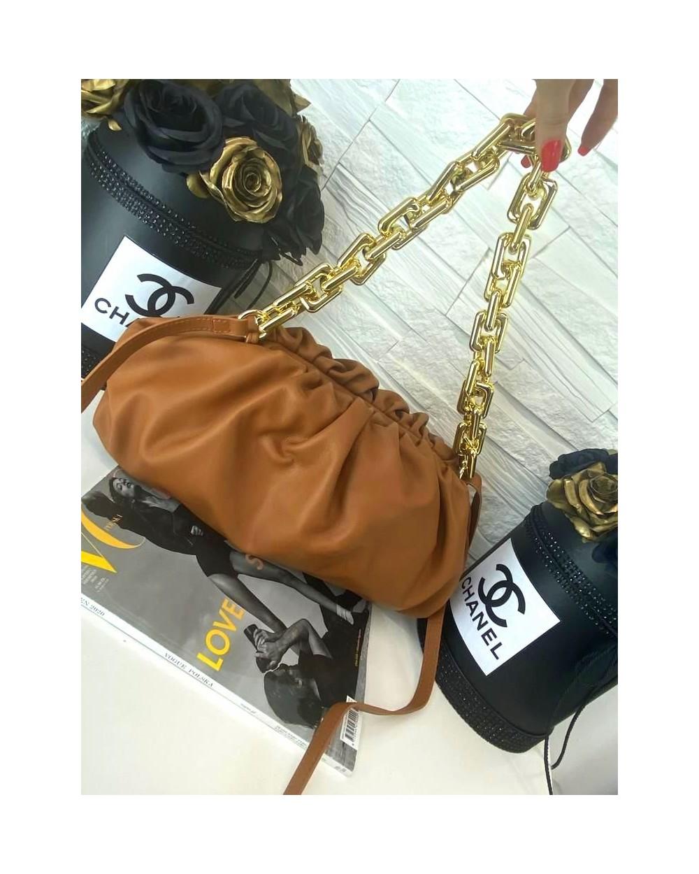 Skórzana torebka a'la Bottega Veneta łańcuch camel