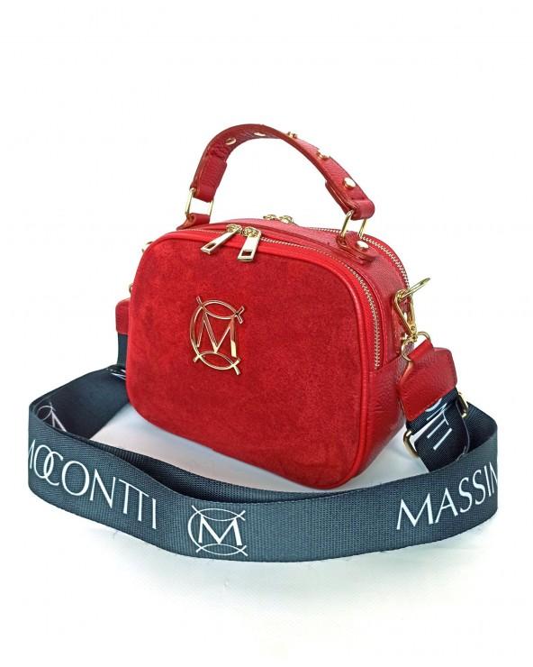 Torebka Massimo Contti kuferek zamszowy czerwony 2 suwaki