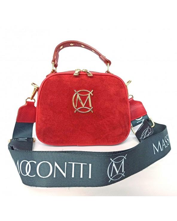 Torebka Massimo Contti kuferek zamszowy czerwona