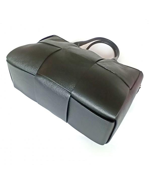 Duża torba skórzana pleciona a'la cassette medium Bottega Veneta czarna spód