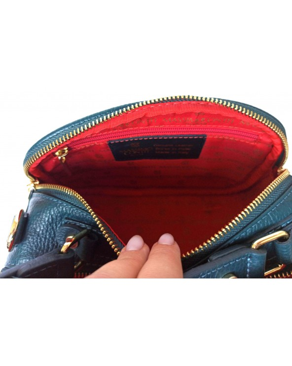 Torebka Massimo Contti kuferek zamszowy szmaragdowy ze skórzanym paskiem czerwone wnętrze