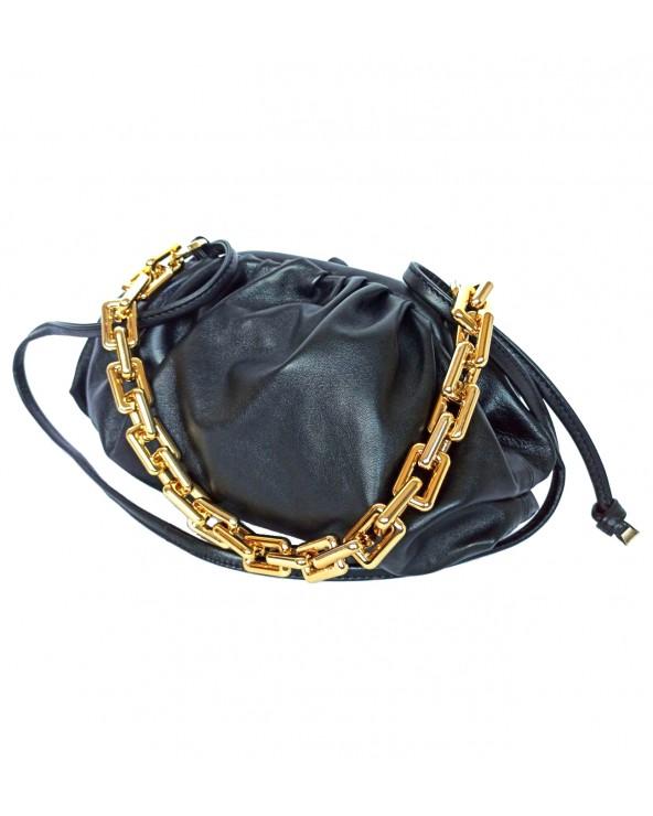 Skórzana torebka a'la Bottega Veneta midi łańcuch czarna
