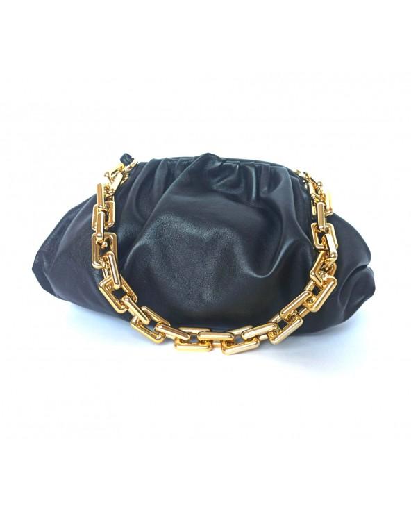 Skórzana torebka a'la Bottega Veneta golden chain łańcuch czarna