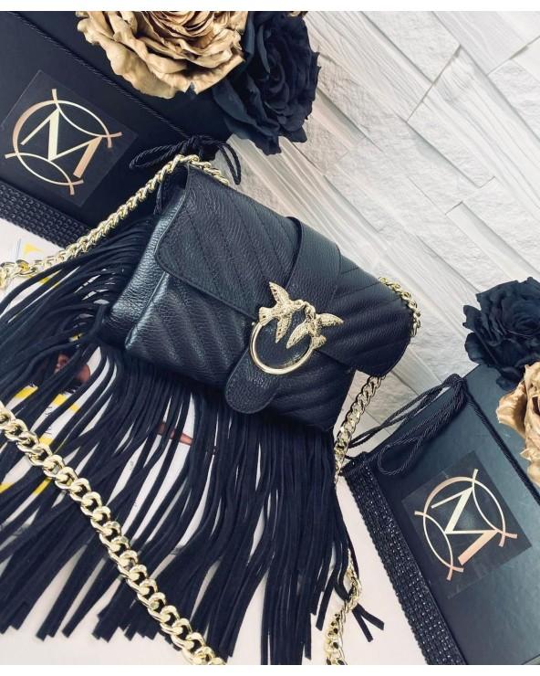 Skórzana torebka z frędzlami a'la Pinko czarna