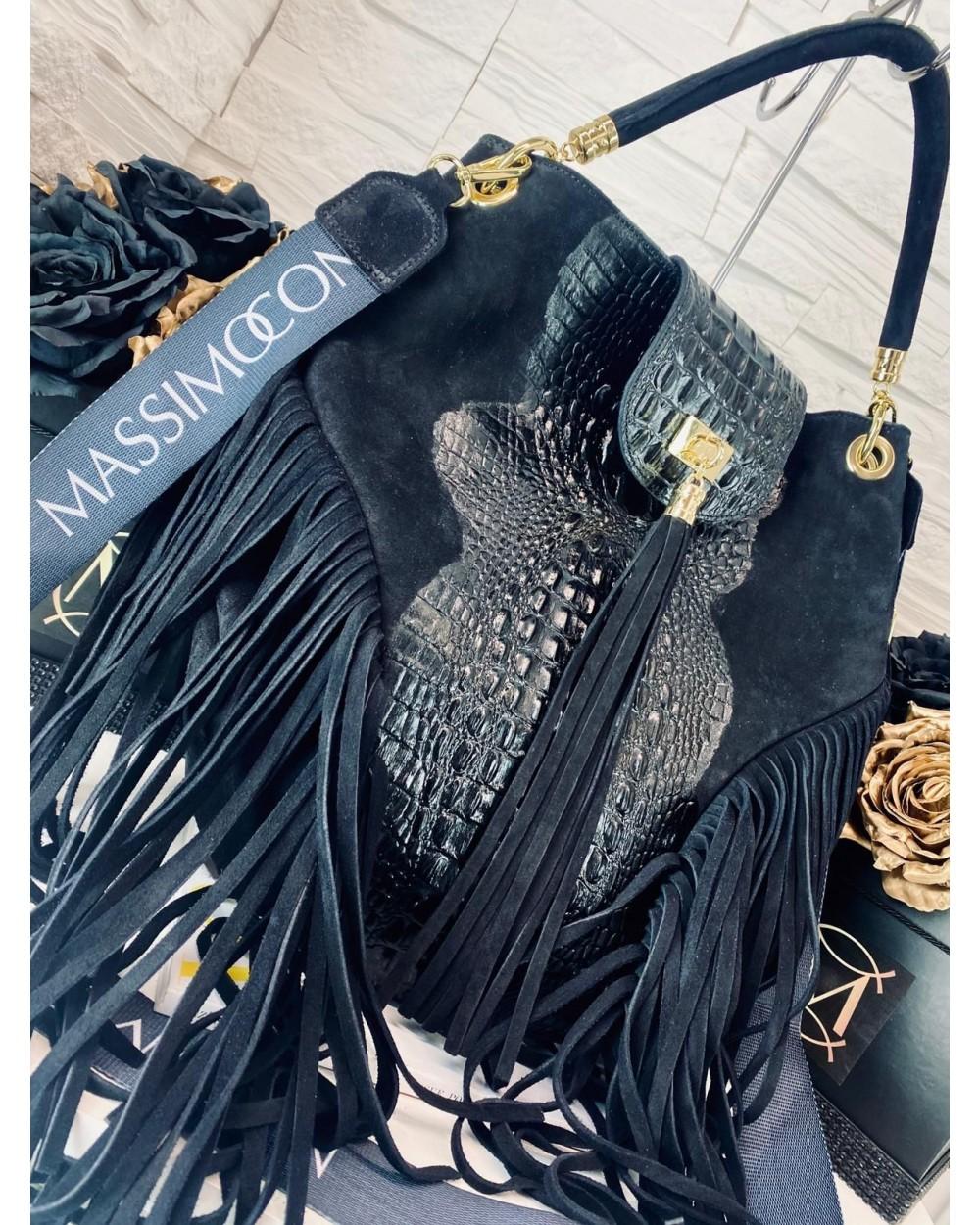 Zamszowa torebka worek croco z frędzlami Massimo Contti czarna