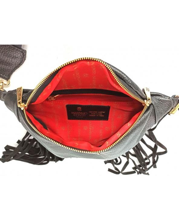 czerwone logowane wnetrze Nerka z frędzlami Massimo Contti torebka na szerokim pasku czarna