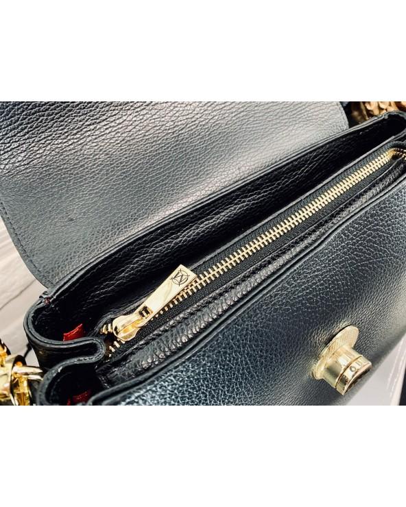 Ekskluzywna torebka skórzana Massimo Contti czarna zamek błyskawiczny