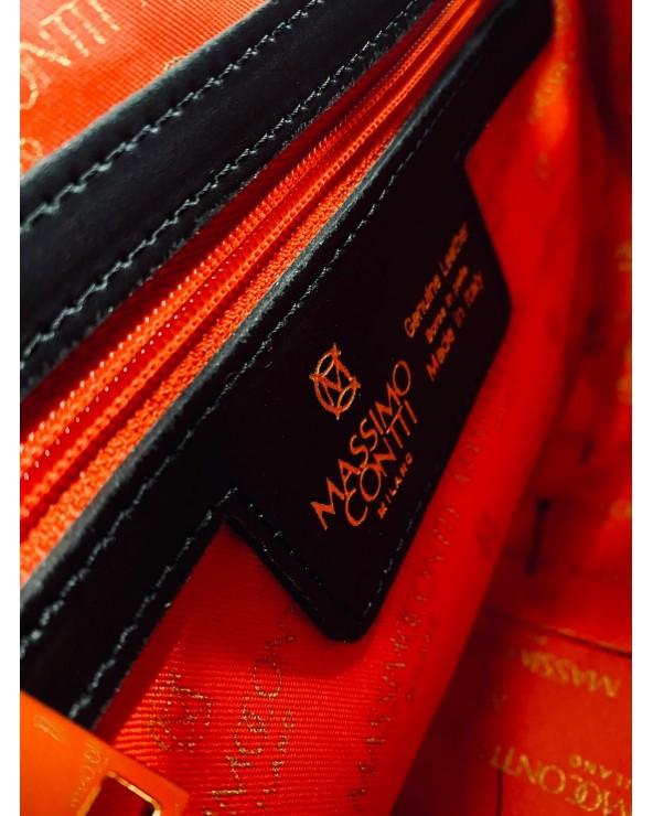 Ekskluzywna torebka skórzana Massimo Contti czarna czerwone wnętrze
