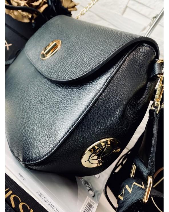 Ekskluzywna torebka skórzana Massimo Contti czarna logo marki