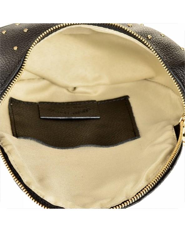 Saszetka nerka torebka z kółeczkiem na szerokim pasku czarna wnętrze