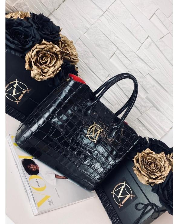 Elegancka torebka Massimo Connti midi shopper croco czarna