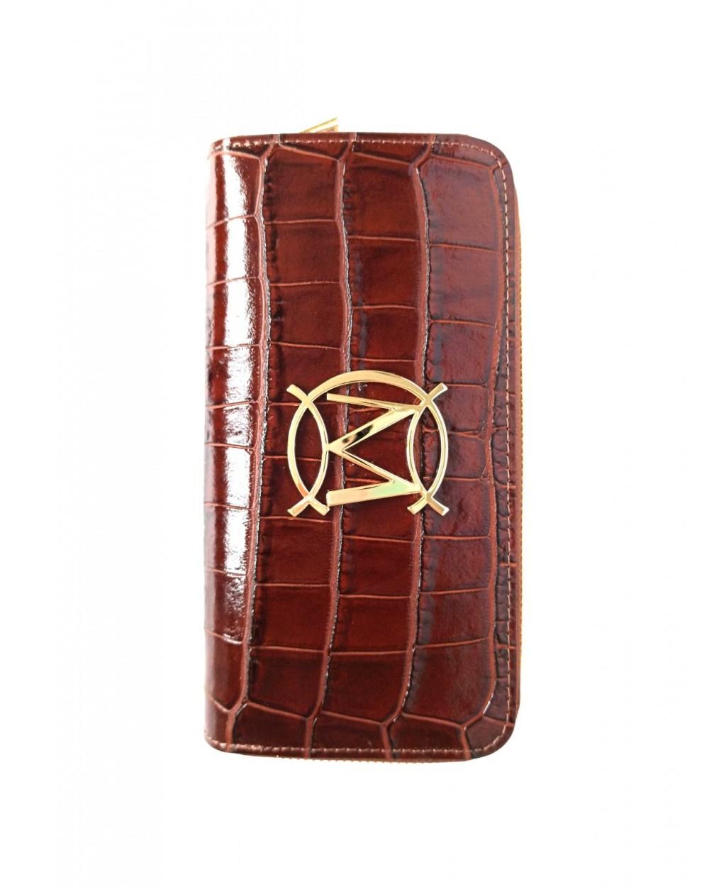 Duży Brązowy damski portfel skórzany Massimo Contti 2 suwaki krokodyl