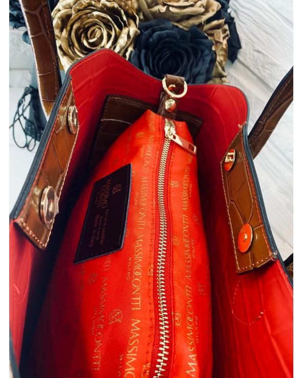 Elegancka torebka Massimo Connti midi shopper croco czarna wnętrze