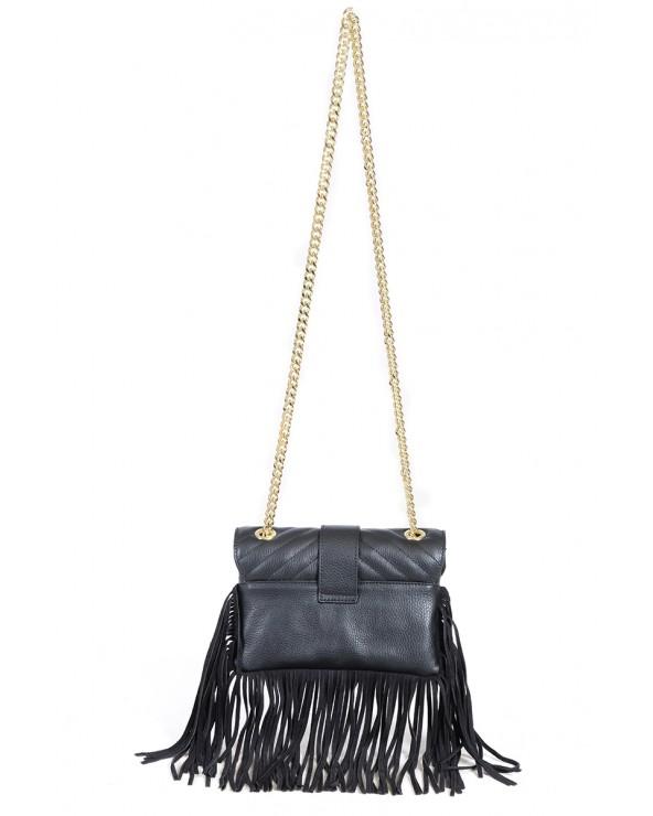 Skórzana torebka z frędzlami a'la Pinko czarna tył