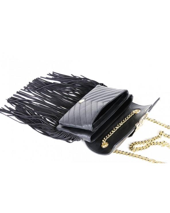 Skórzana torebka z frędzlami a'la Pinko czarna wnetrze środek