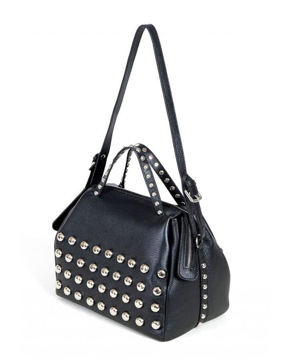 Kuferek włoska torebka z ćwiekami torebka vera pelle czarna