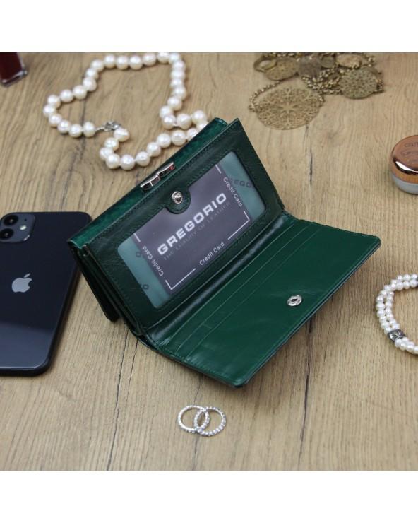 Damski portfel skórzany Gregorio zielony wnetrze pt-108