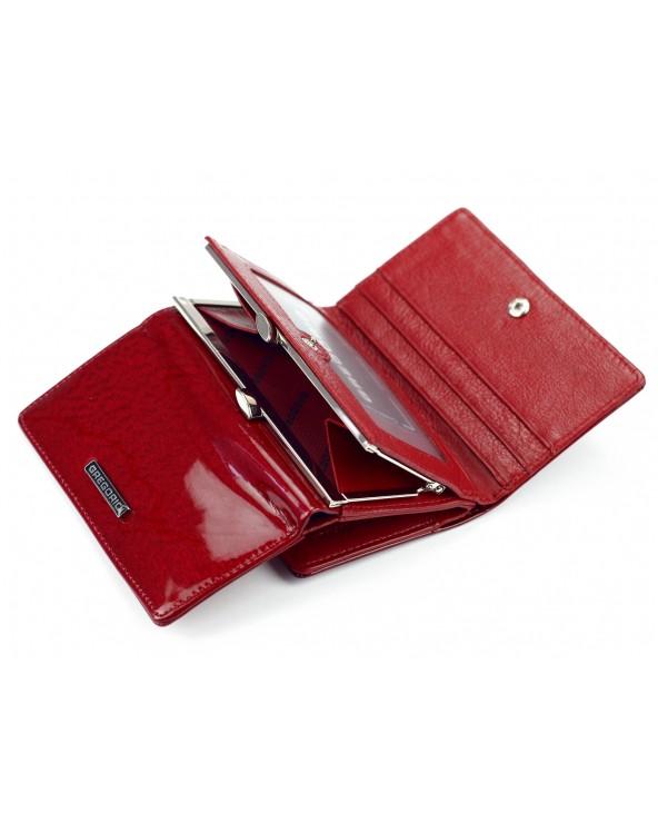 damski portfel skórzany z biglem czerwony