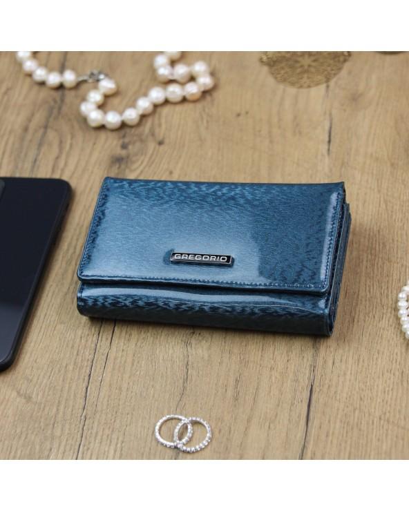 Damski portfel skórzany Gregorio niebieski błękitny