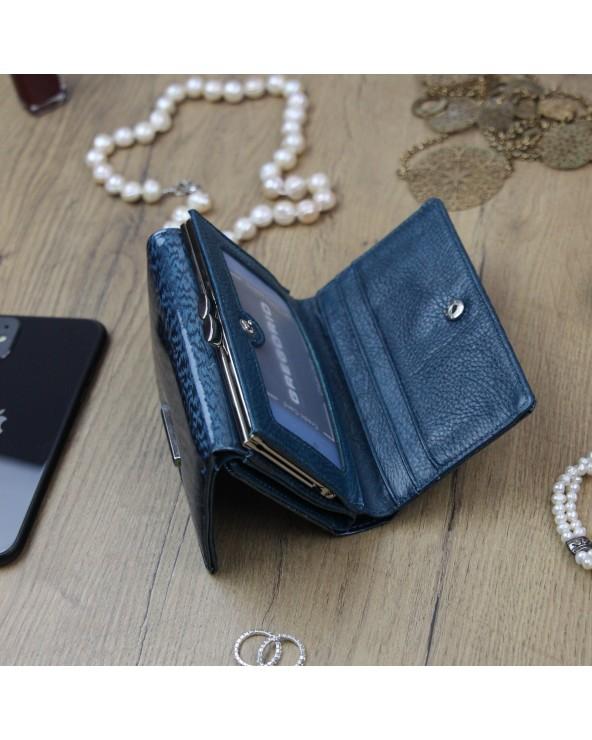 Damski portfel skórzany Gregorio niebieski wnętrze