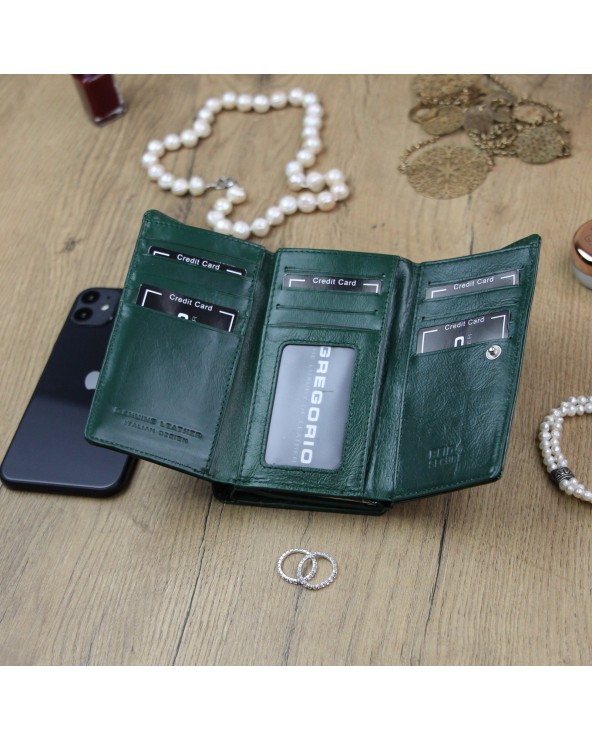 Damski portfel skórzany Gregorio zielony środek ln-108