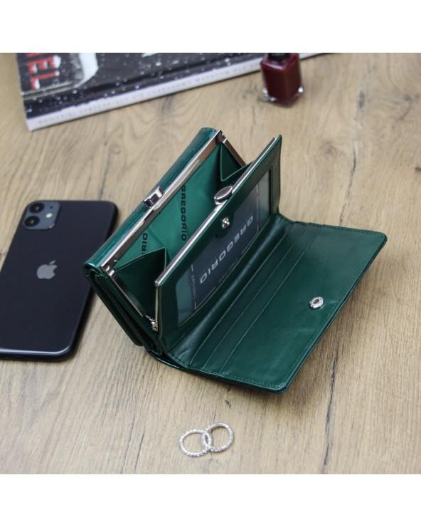 Damski portfel ze skóry naturalnej Gregorio zielony wnętrze ln 108